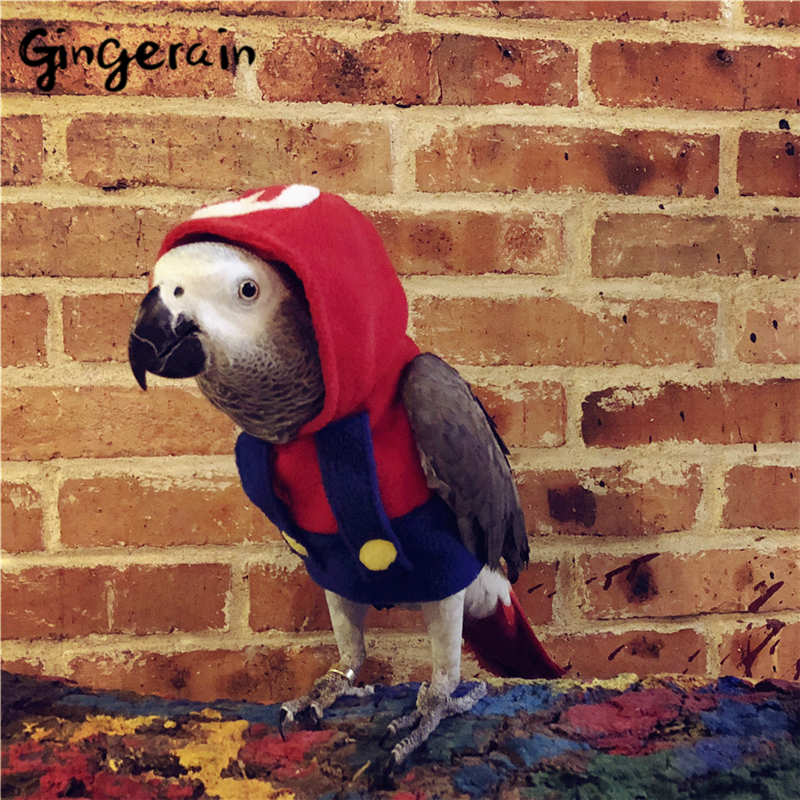 Gingerain Bird Clothes Parrot Clothes Super Marie Original Hand-made Custom Bird Clothes Hooded Sweater Super Marie