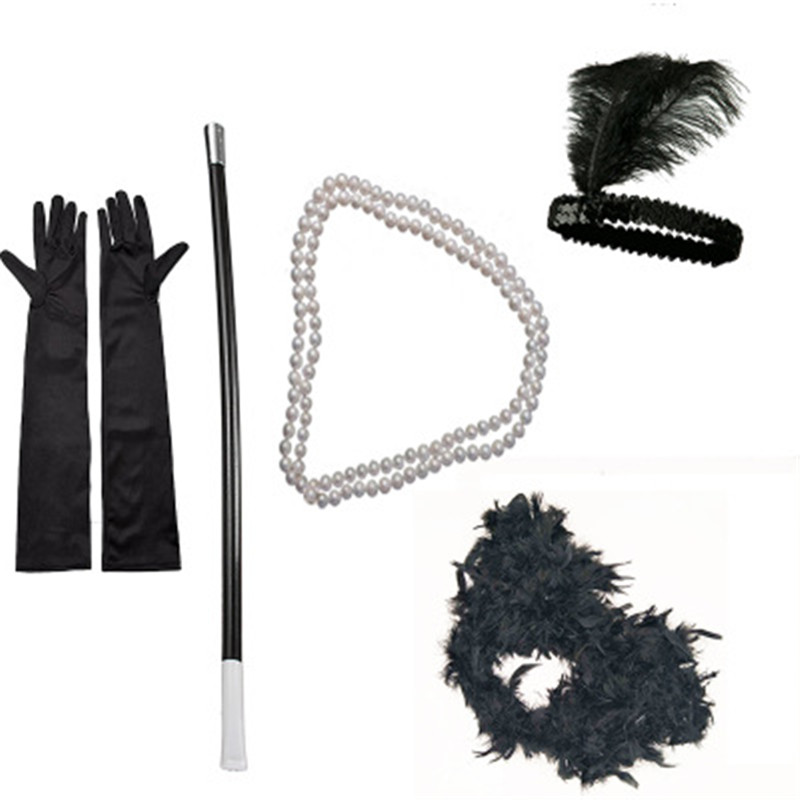 Ladies 1920s Flapper Girl Fancy Dress Accessories 5 PCS Sets Charleston Gangster