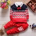 Новая Коллекция Весна и Осень Дети одежда наборы для мальчиков хлопок Поддельные Воротник Пуловер Кофты Брюки Детская одежда Baby boy одежда