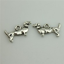 Germany Hunting Dachshund 50Pcs Antique Silver Zinc Alloy Charms Pendants for Jewelry Making charm Handmade DIY 10*18mm(China)