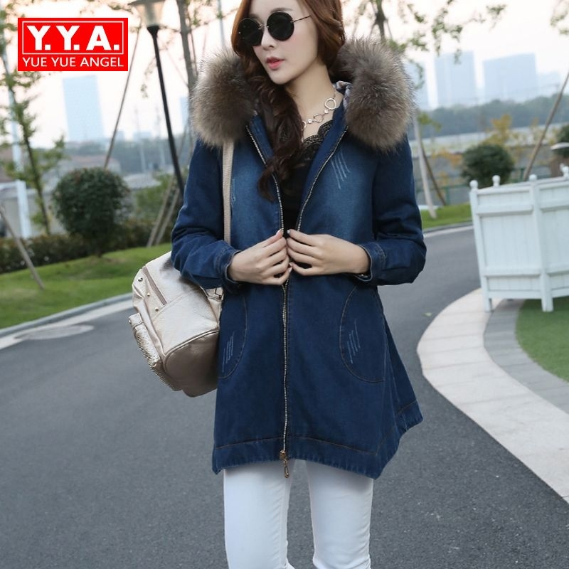 2017 New Fashion Womens Zipper Long Sleeve Casual Jean Coats Female Parkas Pockets Korean Style Loose Fit Fur Lining Plus Size 2016 new women parkas faux fur collor three quarter sleeve female outerwears fashion loose woolen coats plusaf445