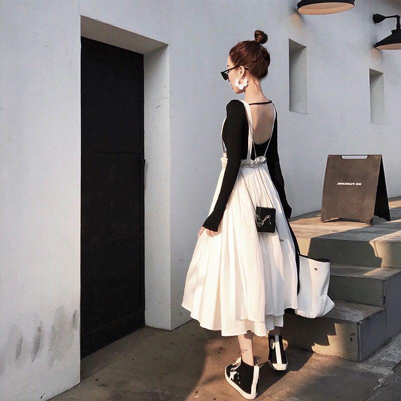Women Summer Princess Ruffles Strap Suspender Braces A-Line Skirt Jupe Preppy Style High Waist  Boho Beach Party Pleated Skirt
