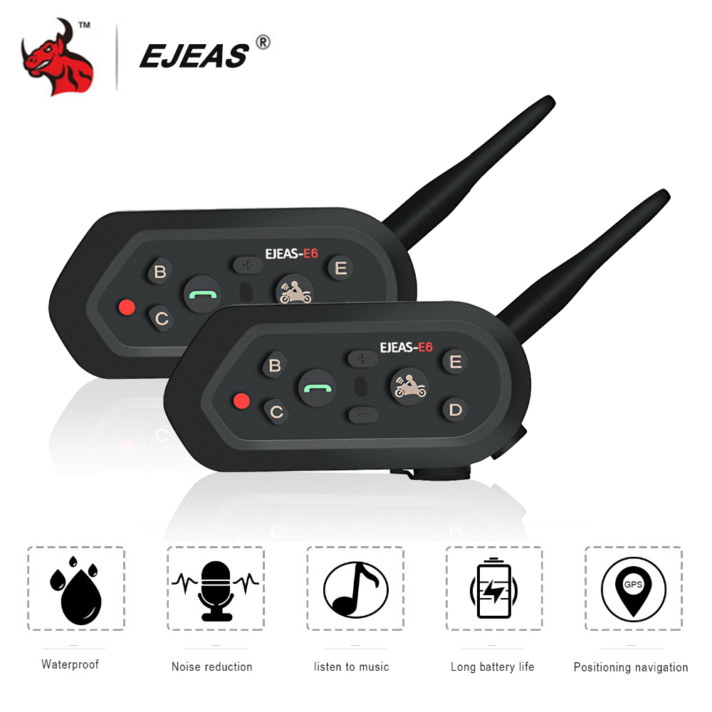 EJEAS 2PCS Helmet Headset Motorcycle Intercom Bluetooth Interphone Moto Helmet Intercomunicador Motorbike Intercom Accessories