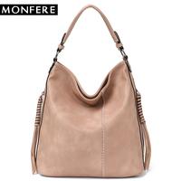 MONFERE Faux Leather Hobo Handbag Large Tote Women Daily Shoulder   Bag   Female Tassel Thread Top-handle Crossbody Ladies   Bag   2018