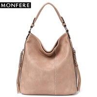 MONFERE Faux Leather Hobo Handbag Large Tote Women Daily Shoulder Bag Female Tassel Thread Top handle Crossbody Ladies Bag 2018