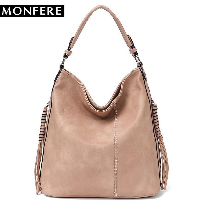 MONFERE Faux Leather Hobo <font><b>Handbag</b></font> Large Tote Women Daily Shoulder Bag Female Tassel Thread Top-handle Crossbody Ladies Bag 2018