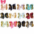 "12pcs/lot 4"" Lovely Girls Solid Ribbon Gold organza Hair Bows With Clip Boutique Hair Clip Hairpin Infant Baby Hair Accessories"
