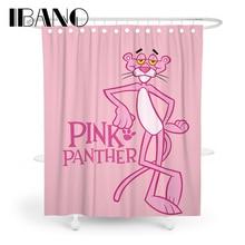 Cortina de baño de tela de poliéster impermeable con cortina de ducha Pantera Rosa IBANO para el baño con ganchos de 12 piezas en oferta