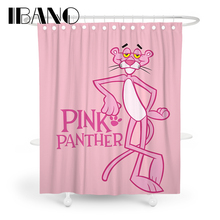 IBANO Pink PANTHER Shower Curtain Waterproof Polyester Fabric Bath For The Bathroom With 12 pcs Hooks Hot Sale