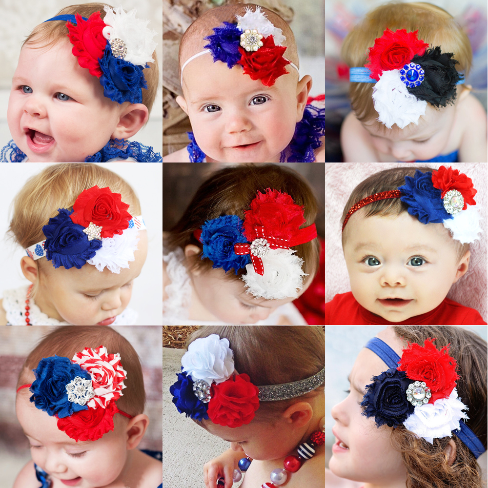 Red White Blue Baby Girl Hair Bow 4th of July Shabby Flower Newborn Headband