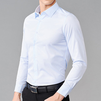 Men's Shirt Classic Solid Color Shirt Wedding Groom Shirt Men's Single Breasted Quality Business Casual Shirt