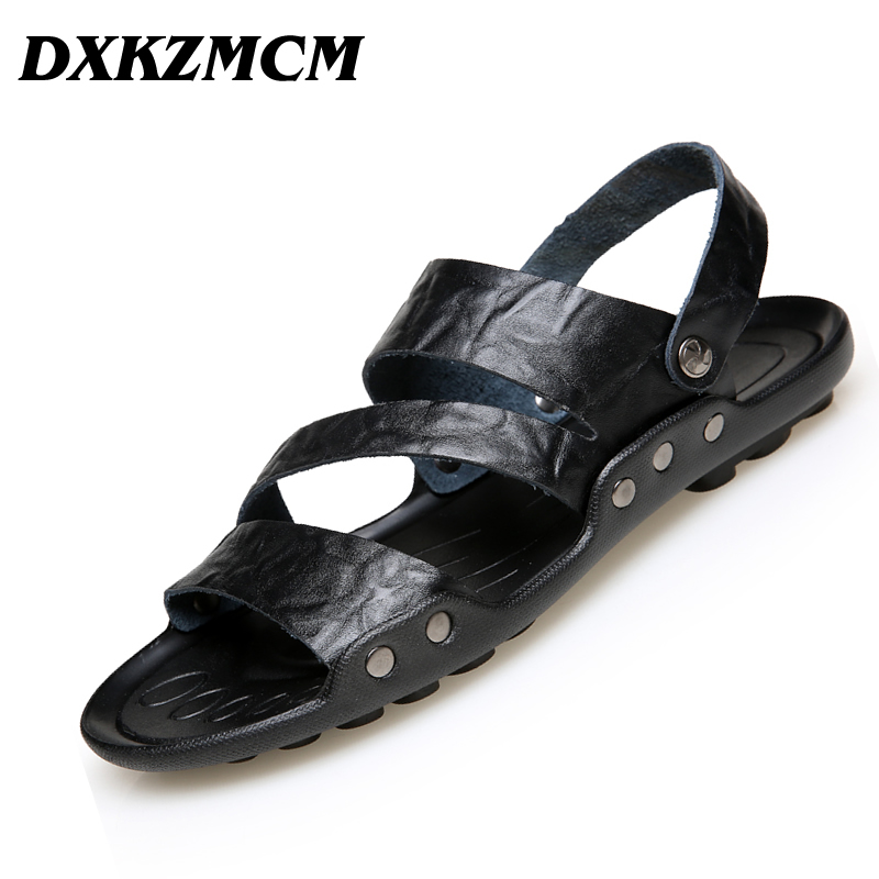 DXKZMCM Men Sandals Men Beach Shose Genuine Split Leather Brand Men Casual Shoes Men Slippers