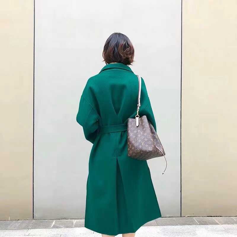 Frauen Wolle Mäntel 100% Doppel Seite Wolle Mantel Schlank Und Dünne 2018 Mode Winter Lange Kaschmir Outerwea Grün