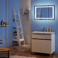 28x 20 Square Built in Light Strip Touch LED Bathroom Mirror Aluminum Silver Wall Mount Bathroom Vanity Mirror Lights
