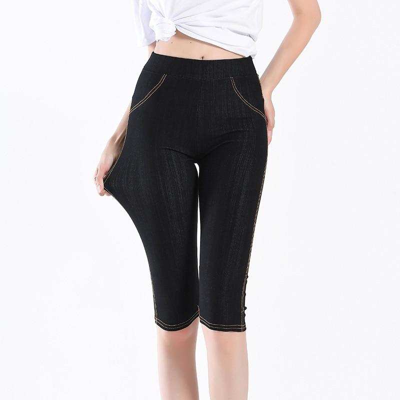Summer Skinny Imitation Jeans   Capris   Women Stretch Knee Length   Pants   High Waist Women's Plus Size Female   Capris   For Woman