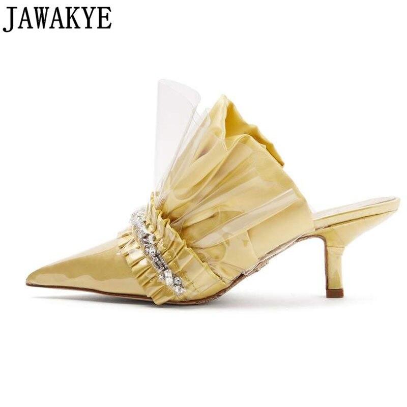 yellow Thin White Altos Arrugada Negro Rhinestone Tacones Señoras Mujer  Cristal Zapatillas Calidad Superior Feminino Verano ... df3c025eda3c
