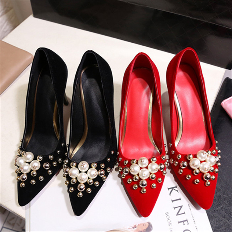 New Brand Pearl Bridal Shoes Red Pointed Toe Wedding Shoes