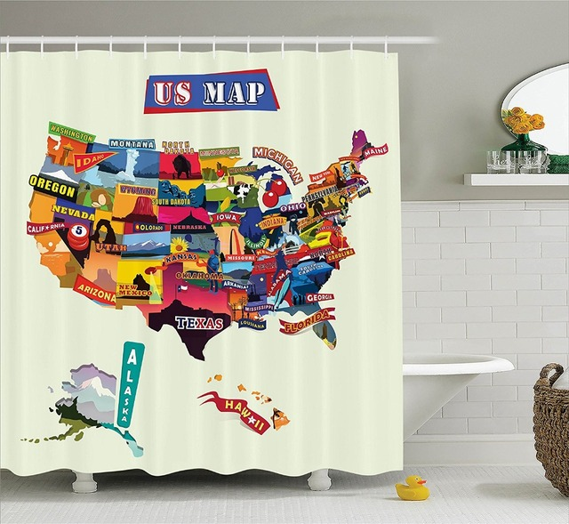 Shower Curtain Funny Us Map Tourist Attractions Printing Waterproof - Us-map-with-tourist-attractions