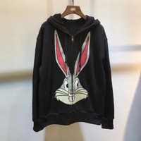High quality Rabbit embroidery hoodie jaclets New 2018 spring runways 100% cotton women Jackets Coat S360