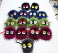 Selling!Paris Fashion Week black leather wallet Pom Pom real Raccoon fur monster doll keychain charm golf cart bag pendant strap