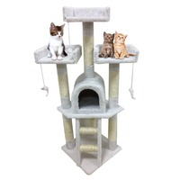 Cat's Tree Tower Condo Scratcher Home Furniture Kitten Cat Tree Scratching Post Pets House Hammock Activity Centre Toys 115cm