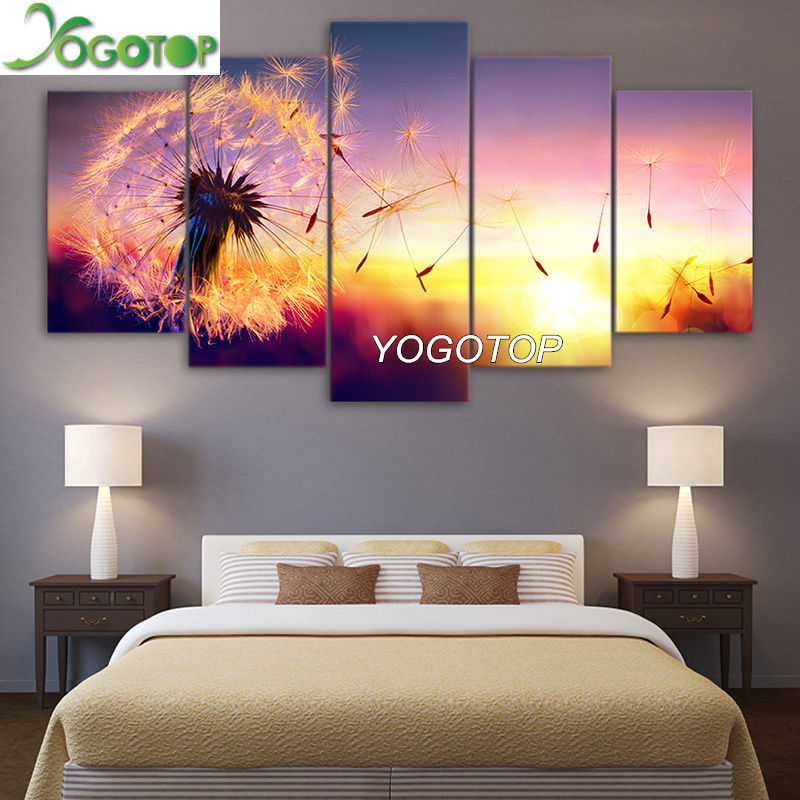 YOGOTOP DIY Diamond Painting Cross Stitch Kit Full Embroidery 5D Square Drill Mosaic Decor Dandelion Flying