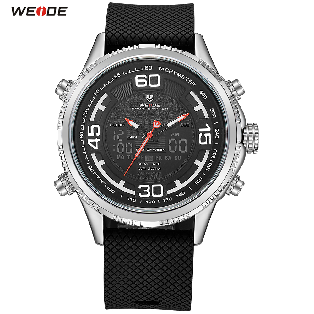 2018 Top Sale WEIDE LED Men PU Band Steel Case Watch Sport Watch Digital Quartz Watch Men Waterproof Wristwatch Orologio Uomo купить недорого в Москве