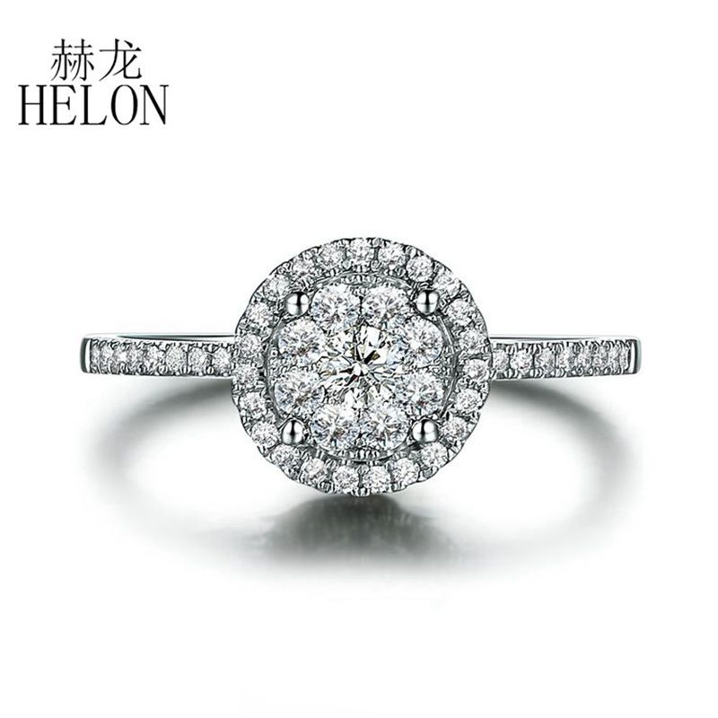 HELON Loving! Solid 18 K Wit Goud 6.5mm Diameter SI/H Volledige Cut Natuurlijke Diamanten vrouwen Engagement Wedding Party Gif Fijne Ring
