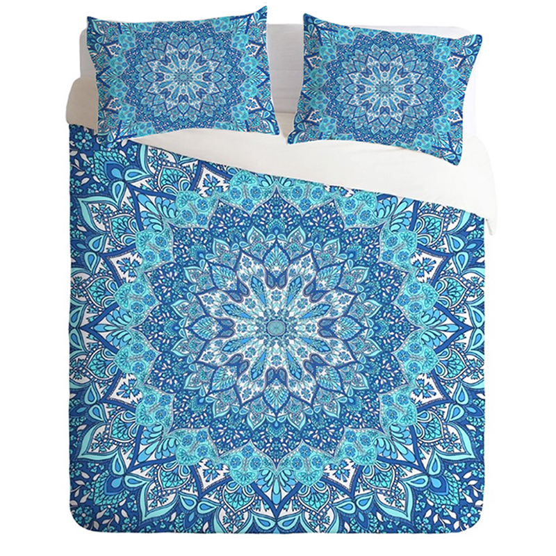 Bohemian Bedding Set Light Blue Mandala Quilt Cover