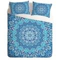 Bohemian Bedding Set Light Blue Mandala Quilt Cover Printed No Fading Bedclothes Twin Full Queen King 3pcs