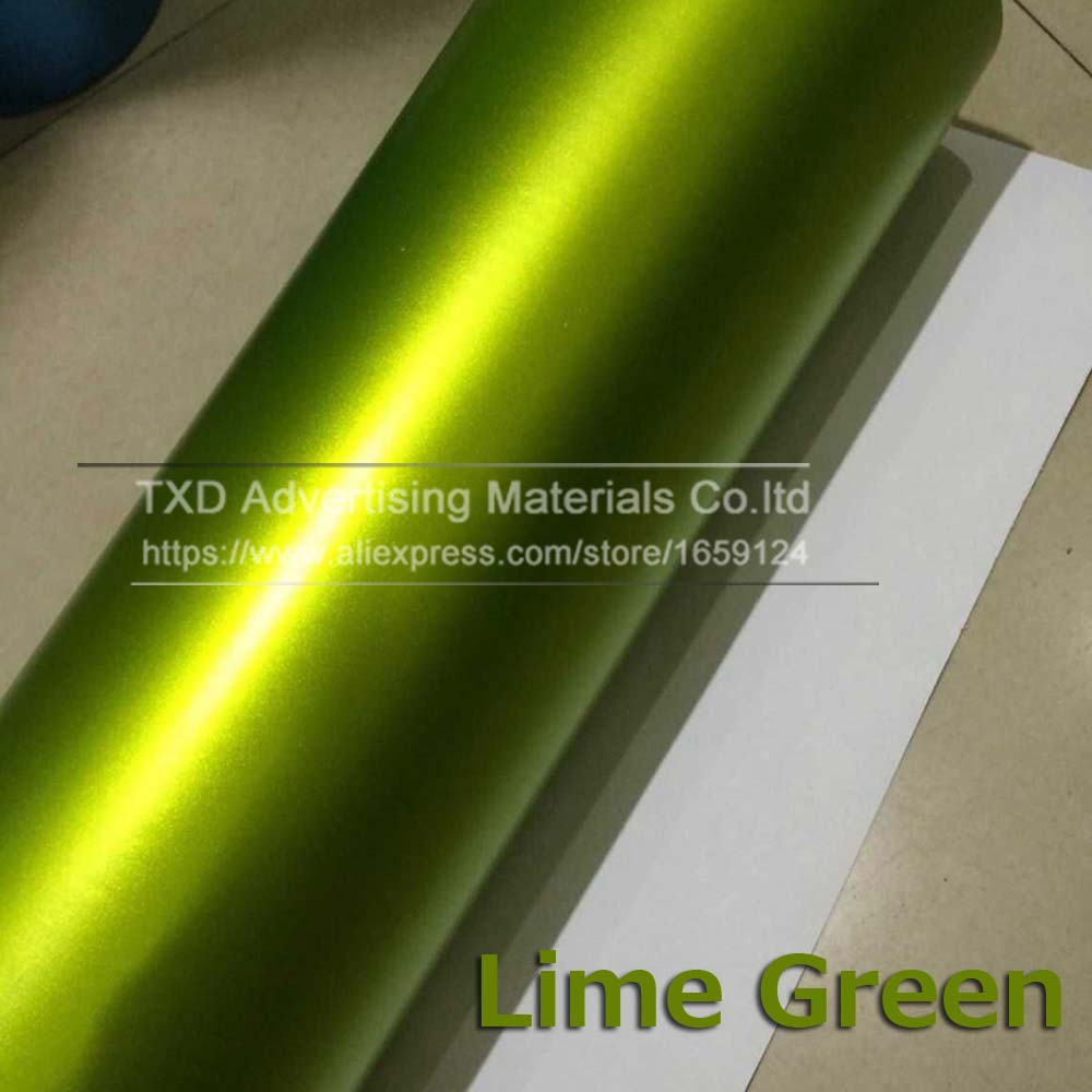 Синий Матовый Металлик Виниловая пленка для автомобиля с воздушными пузырьками хромированная матовая виниловая пленка синяя матовая пленка для автомобиля - Название цвета: lime green