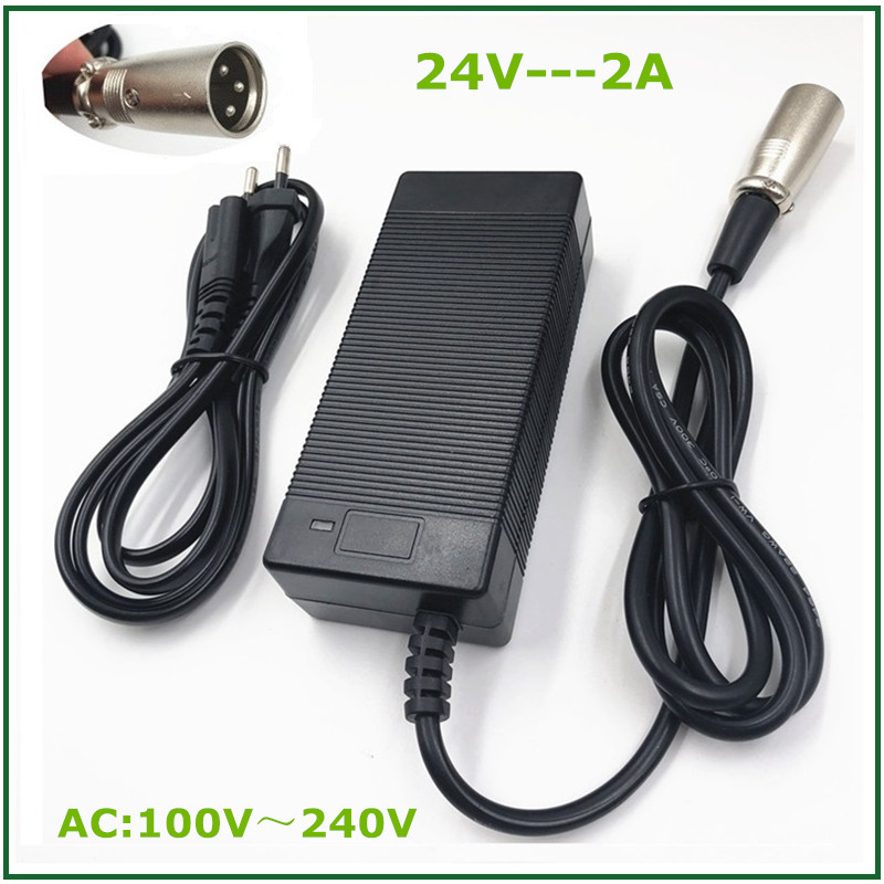 24V 2A Lead-acid Battery Charger for Electric Scooter Ebike  Wheelchair Golf Cart  XLR Metal Connector Good