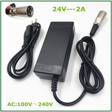 цена на 24V 2A Charger for 24V E-bike lead-acid battery for E-scooter Ebike  lead-acid battery XLR metal connector good qualigy