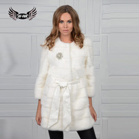 BFFUR High Quality Real Mink Fur Coats For Womens Winter Palace Natural Fur Jacket Full Pelt Fashion Slim Fur Coat With O Neck