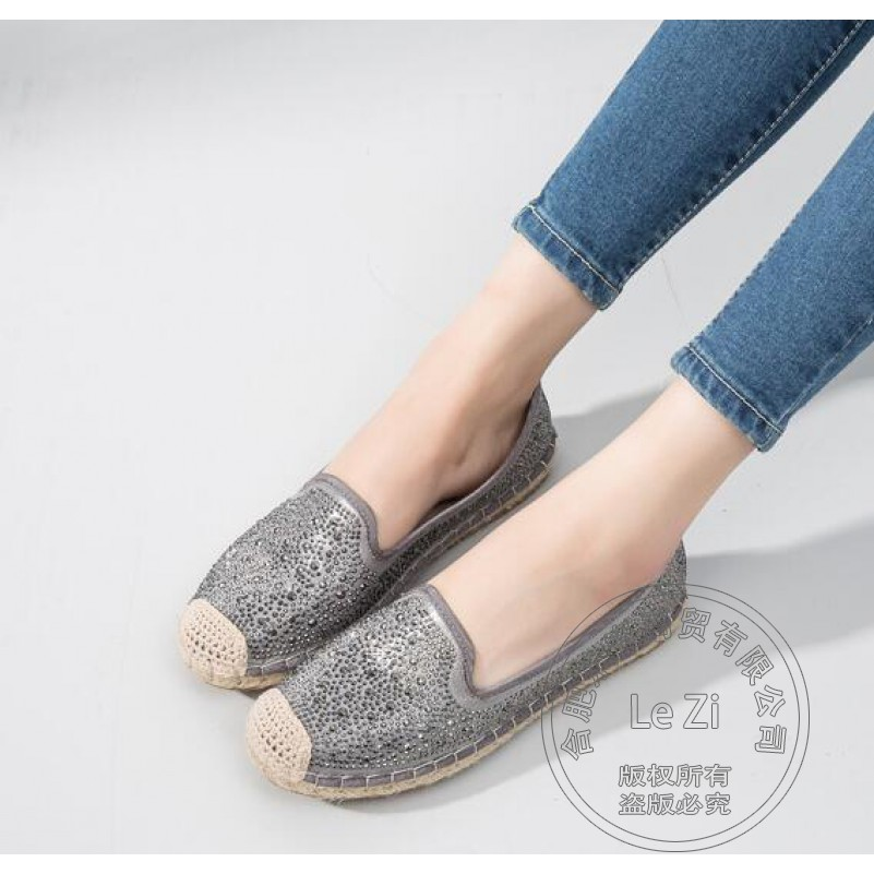 ФОТО Espadrilles Women Shoes 2016 Crystal Hemp Rope Pastoral Women Shoes Spell Color Soft Leather Flash Fabric Brand Fashion Slip On