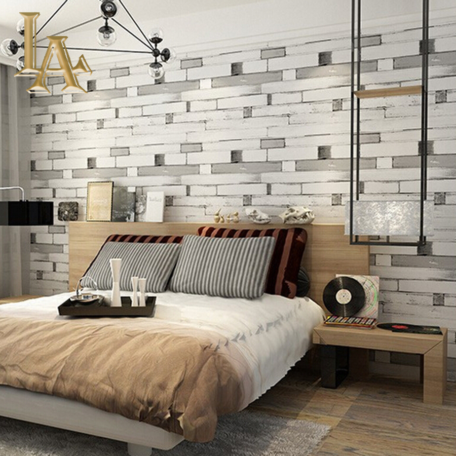 Aliexpresscom Buy Brick Stone Stripe Wood Textured Wallpaper