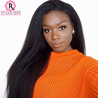 Kinky Straight 360 Lace Frontal Wig 180% Density Lace Front Human Hair Wigs For Women Coarse Yaki Full Black Rosa Queen Remy
