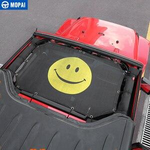 Image 2 - MOPAI 2 باب سيارة علوية ظلة غطاء سقف مكافحة الأشعة فوق البنفسجية الشمس الظل حماية شبكة صافي اكسسوارات ل جيب رانجلر 2007 2017 سيارة التصميم