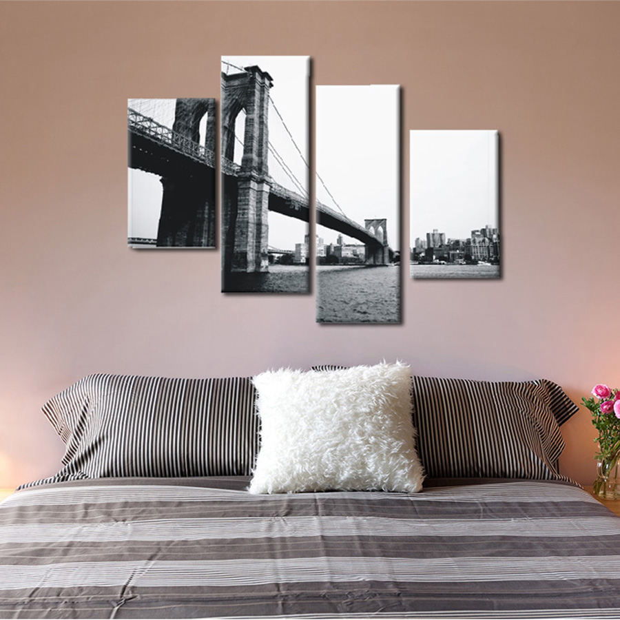 Great 4 Piece Canvas Prints Christmas Gift Abstract Grey Canvas Wall Art Picture  Brooklyn Bridge Painting For Living Room Wall Decor In Painting U0026  Calligraphy ...