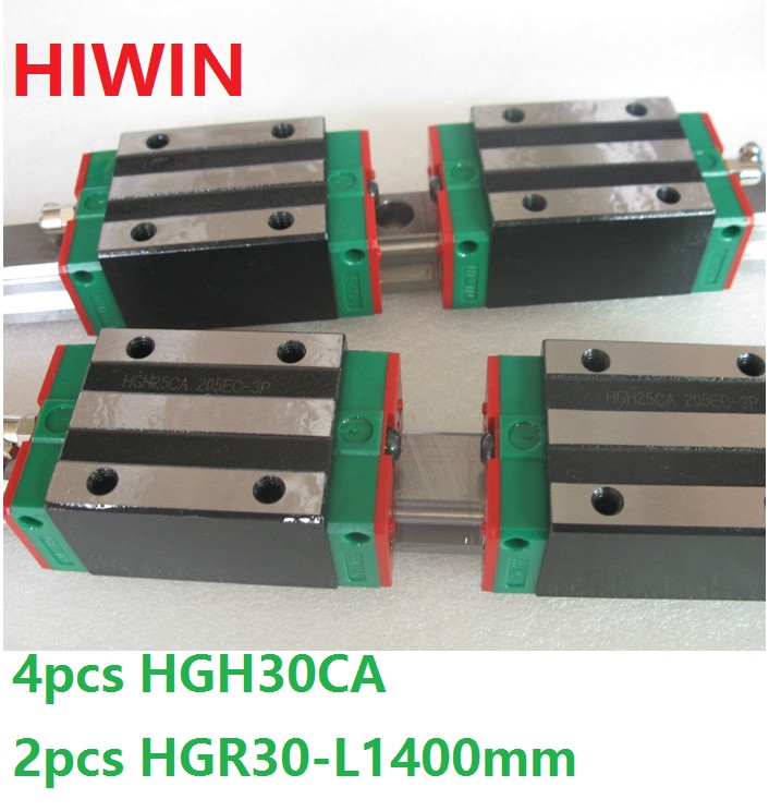 2pcs 100% original Hiwin linear guide HGR30 -L 1400mm + 4pcs HGH30CA narrow block for cnc router 1pcs 100% original hiwin linear guide hgr30 l 300mm 1pcs hgh30ca narrow block for cnc router