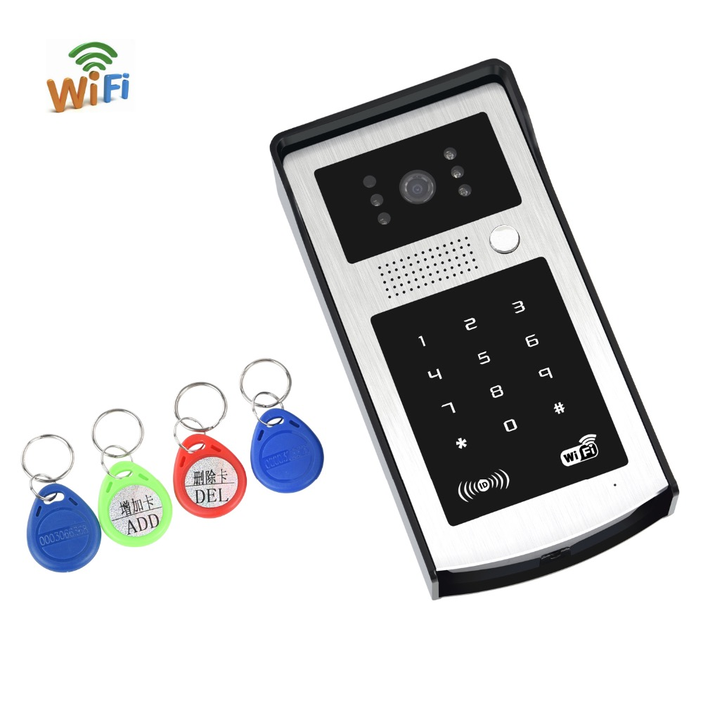 Free Shipping Touch Wireless WIFI Video Door Phone Access Control Doorbell Intercom System With Kit IR Night Vision Reader Card