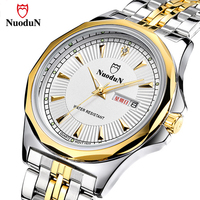Nuodun Casual Quartz Watch Men Stainless Steel Gold Plated Mens Watches Top Brand Luxury Wristwatch Waterproof