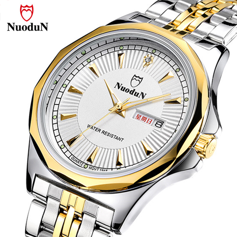 Nuodun Casual Quartz Watch Men Stainless Steel Gold Plated Mens Watches Top Brand Luxury Wristwatch Waterproof Relogio Masculino hollow brand luxury binger wristwatch gold stainless steel casual personality trend automatic watch men orologi hot sale watches