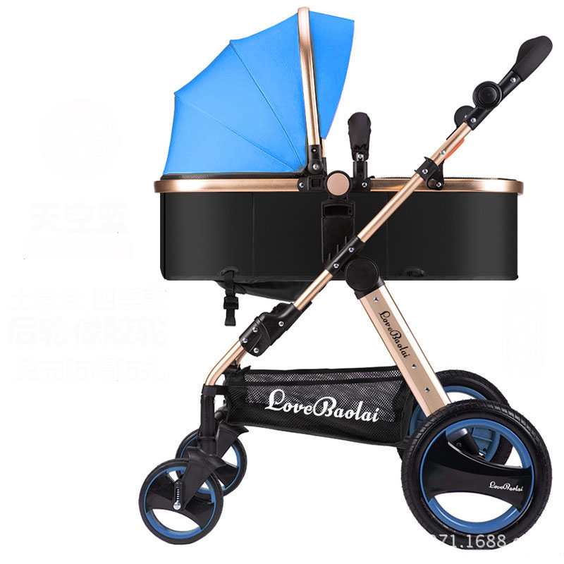 High Landscape Baby Stroller Can Sit And Lie 2-in-1 Trolley  can Foldable Umbrella Carts Big Rear Wheel Tomahawk Wheel stroller