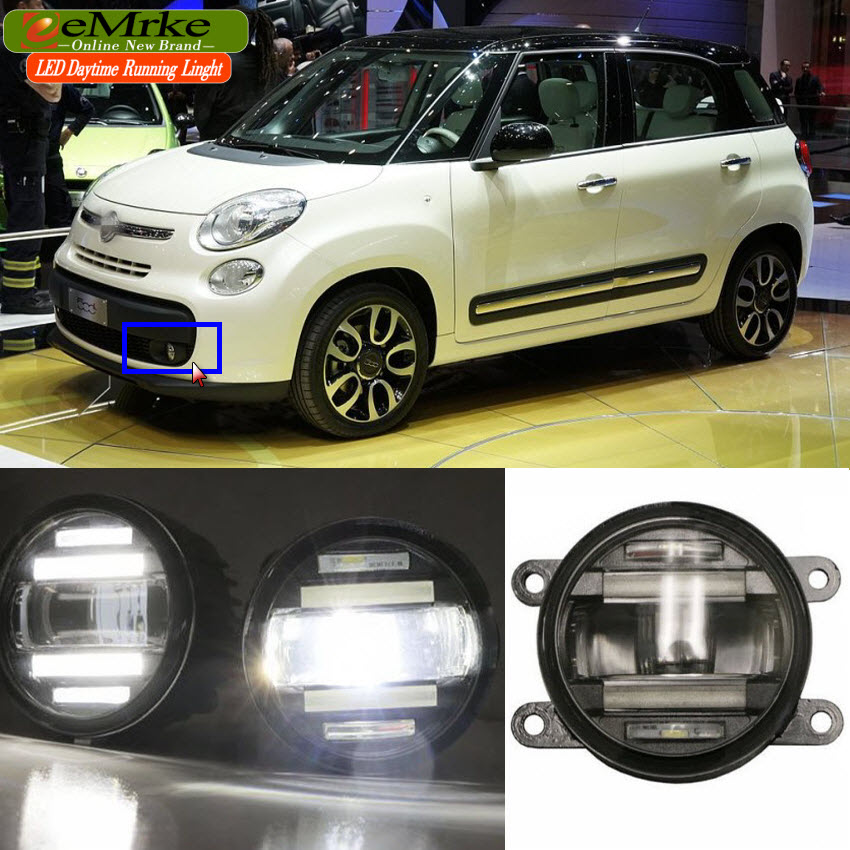 eeMrke Car Styling For Fiat 500L 2012 2013 2014 2015 - up 2 in 1 LED Fog Light Lamp DRL With Lens Daytime Running Lights eemrke car styling for opel zafira opc 2005 2011 2 in 1 led fog light lamp drl with lens daytime running lights