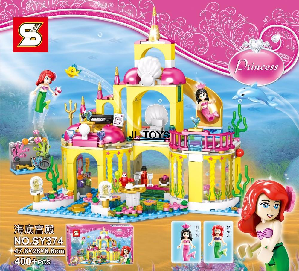 ФОТО Fairy tale princess assemblage building block seabed palace bricks The little mermaid minifigure compatible bricks go for girls