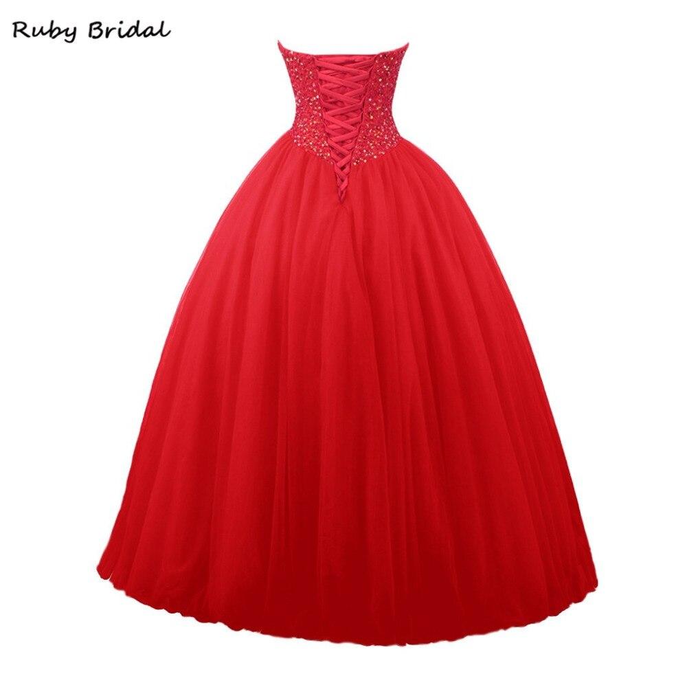 Robe De mariée rubis De Fiesta rouge Tulle robe De bal perlée robes De bal De luxe longue sans bretelles robe De bal De promo LP045 - 2