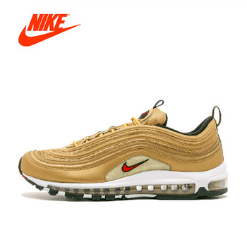 Original New Arrival Official NIKE AIR MAX 97 Metallic Gold Breathable Men's Running Shoes Sports Sneakers