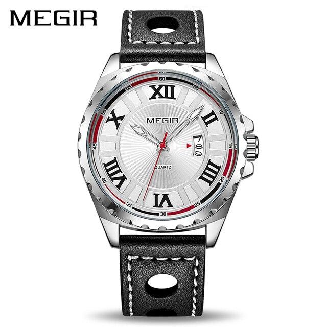 MEGIR Sport Men Watch Top Brand Black PU Band Quartz Watches Men Clock Time  Fashion Army Military Wristwatches Erkek Kol Saati 1c6c57ed38