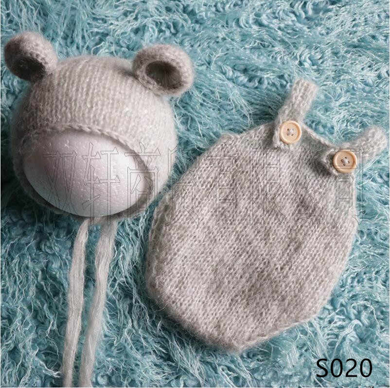 handmade mohair teddy bear hat + shorts     Newborn photography props